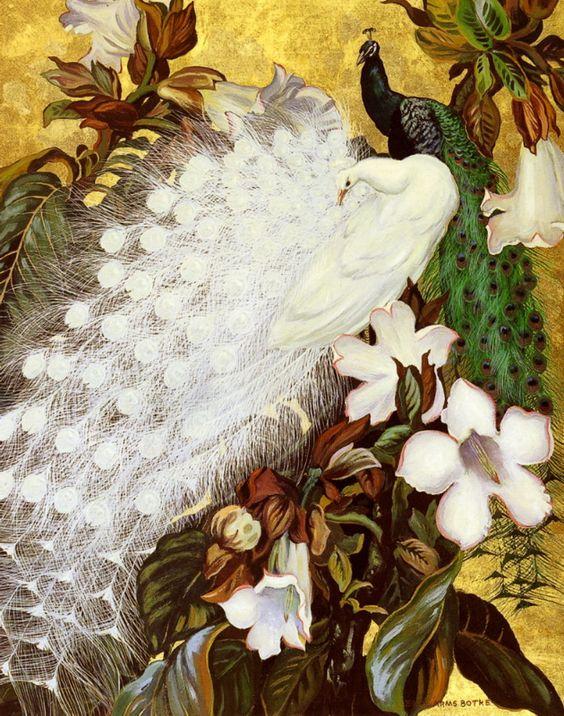 Jessie Hazel Arms Botke (1883-1971) —  Arms White And Blue Peacocks  (630×800):