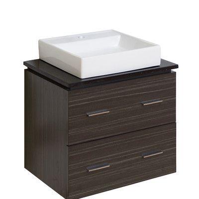 "American Imaginations 24"" Single Modern Wall Mount Plywood-Melamine Bathroom Vanity Set Hardware Finish:"