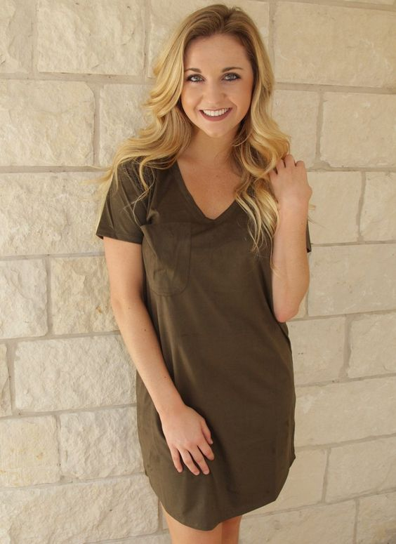 Your t-shirt dress just got a makeover. The Suede Dress is made from our ultra soft faux suede fabric featuring a curved v-neck and a slouched, raw edge pocket. Say hello to your new everyday favorite