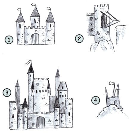 Drawing a cartoon castle: