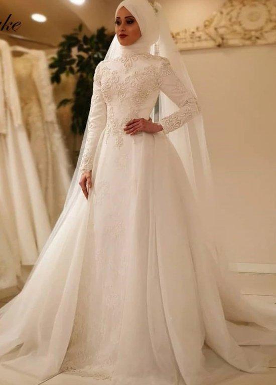 Elegant Long Sleeve O Neck Muslim Wedding Dress Islamic Wedding Gowns Eternally In 2020 Muslim Wedding Dress Hijab Bride Muslim Wedding Dress Muslimah Wedding Dress