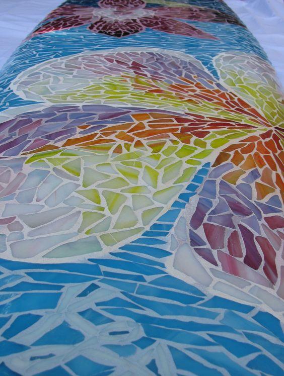"""Surfs Up"" stained glass mosaic on retired surfboard. Artist: KACIE mosaics. www.kacieonline.com"