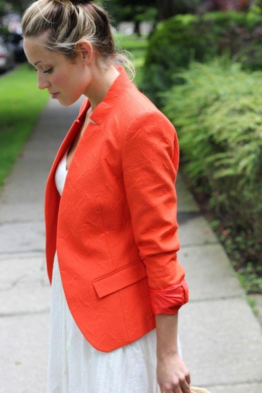 a fashion love affair: Sugar and Spice: Pretty Blazers, Fashion Style, Bright Blazer, Orange Jacket