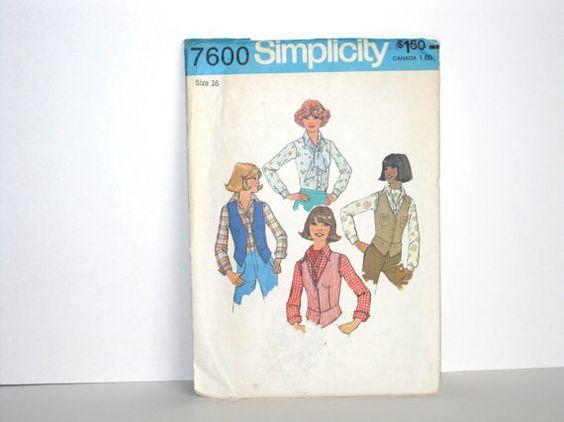 1976-Einfachheit 7600-Schnittmuster  Größe 16  von PenelopesPortal