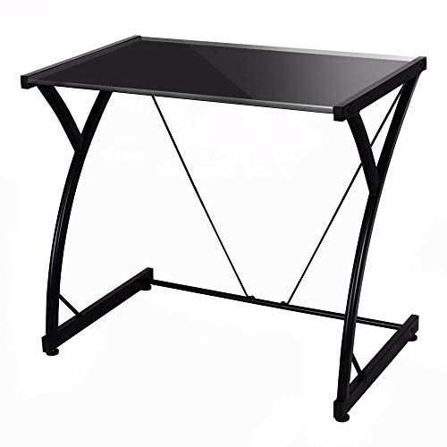 Glass Top Computer Desk Writing Study Workstation Laptop Table For Home Office Glass Desk L Shaped Desk Wood Writing Desk