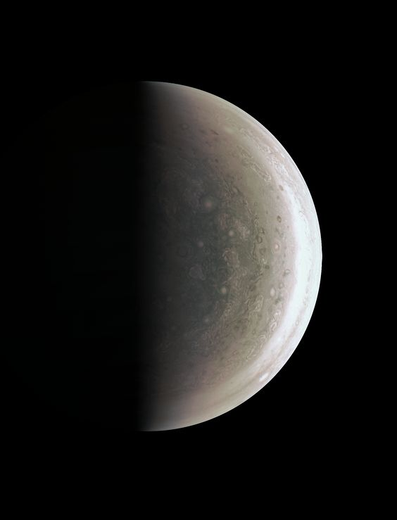 This image from NASA's Juno spacecraft provides a never-before-seen perspective…