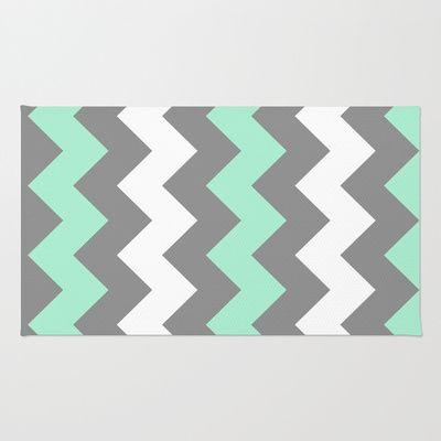 Mint White Grey Chevron Area Throw Rug by CreativeAngel - $28.00