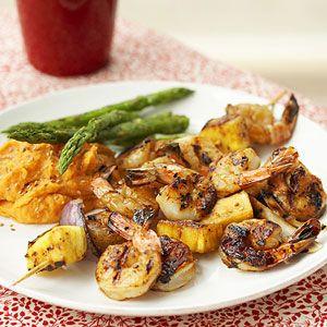 Grilled Teriyaki Shrimp Kebabs   MyRecipes.com #myplate #protein #fruit