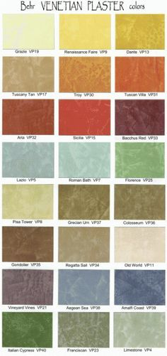 Behr venetian plaster colors venetian plaster and faux for Color charts for painting walls