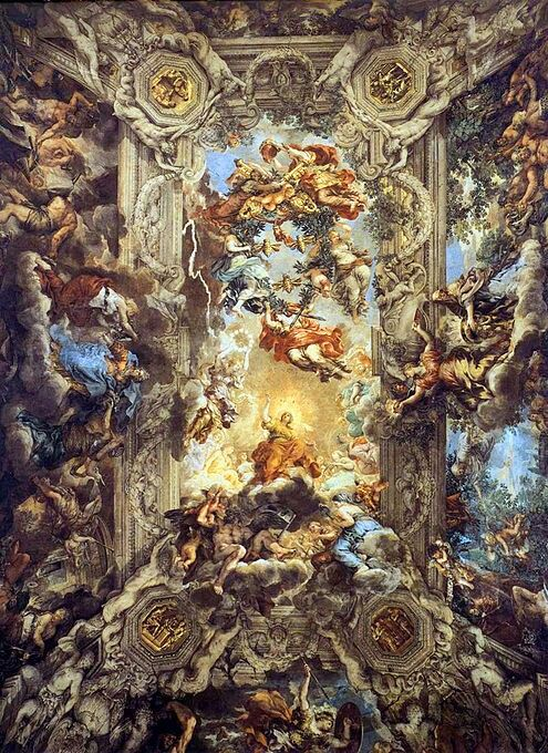 Pietro da Cortona: O triunfo da Divina Providência, 1633-1639. Afresco em teto do Palazzo Barberini, Roma