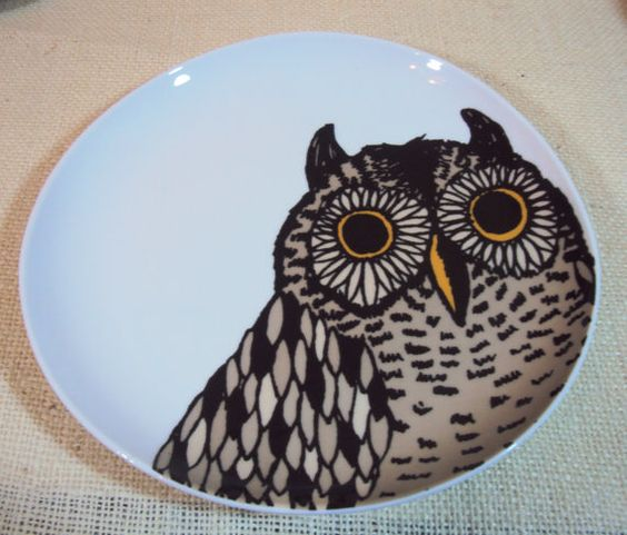 Owl plate wall hanging kitchen decor plate wall wall Owl kitchen accessories