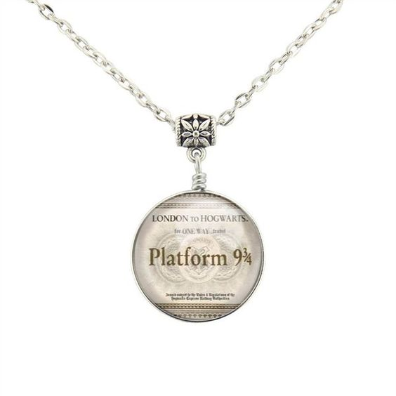 Moon pendant Harry Potter Platform 9 3/4 Train Ticket necklace Harry Potter necklace Steampunk jewelry