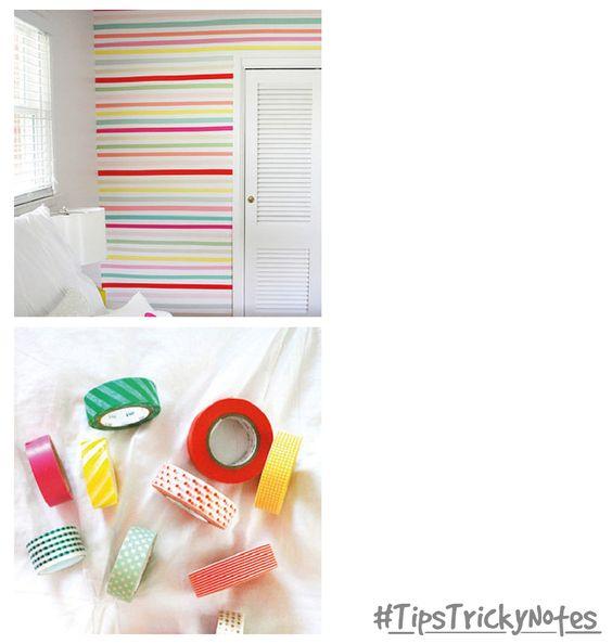 Decoremos las paredes de nuestra habitación con cintas de colores :)