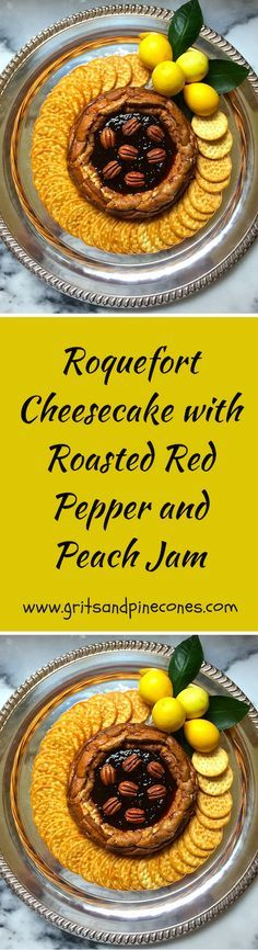 Roquefort Cheesecake with Roasted Red Pepper and Peach Jam is delicious, and it's the ultimate make-ahead holiday party appetizer.  via @http://www.pinterest.com/gritspinecones/