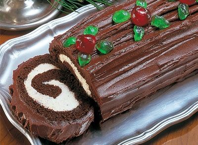 Chocolate and White Yule Log Recipe