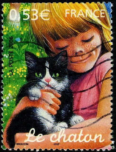 Cat on Stamp France: