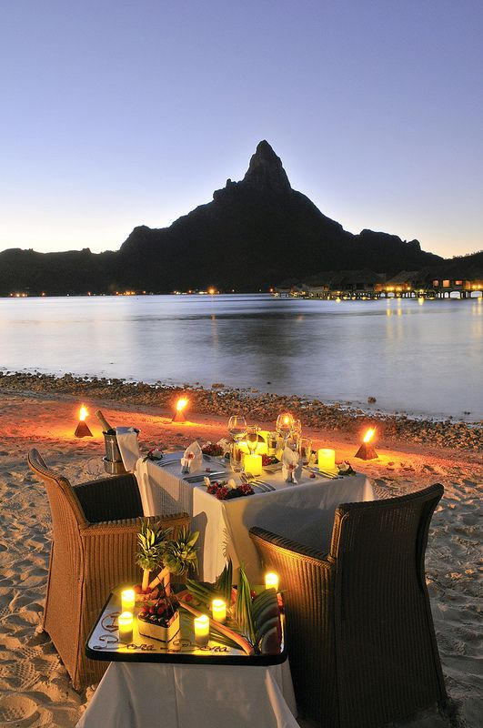 Bora Bora sunset private dinner for 2 on the beach!