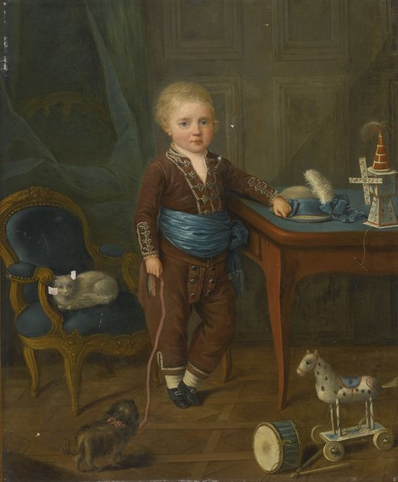 French School   — Portrait of a Young Boy with His Dog and Toys, 18th century (2000x1651):