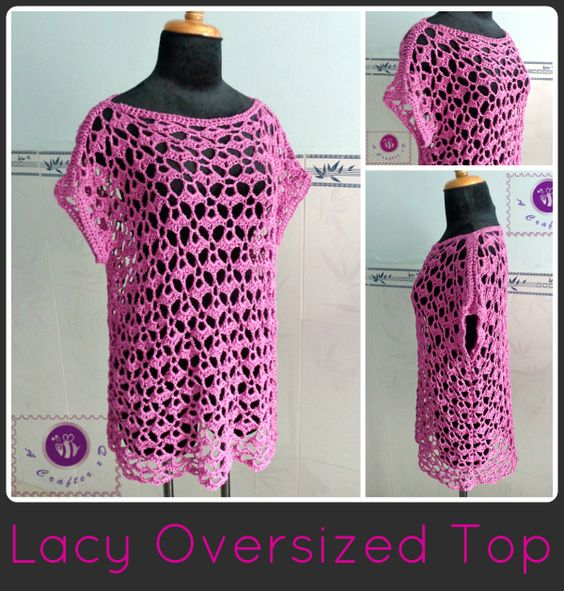 Crochet Lacy Oversized Top By Maz Kwok - Free Crochet Pattern - (beacrafter)