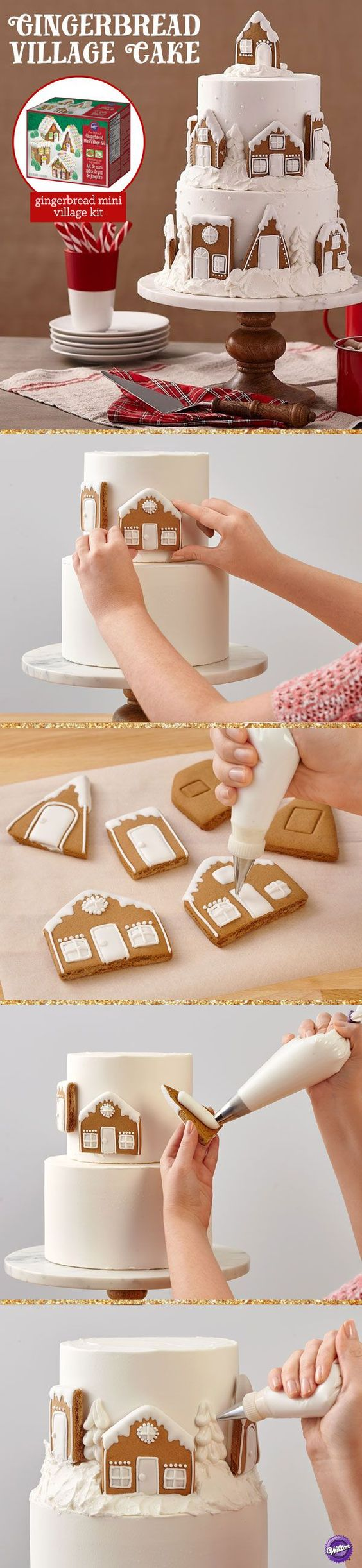Gingerbread kits are not just for the holidays! Here, the cookies from the Wilton Mini Gingerbread Village become a Winter Wonderland village perched on top of a 2-tier cake billowing with drifts of icing snow.