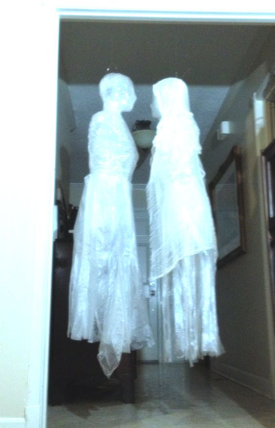 Tape and trash bag ghost tutorial. Good tutorial for making a trash bag dress for a ghost!: