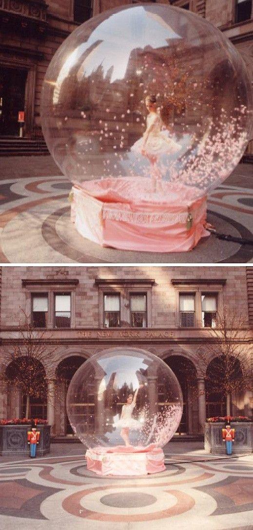 Ballerina in a snow globe - performance art. (Dance of the sugarplum princess!)