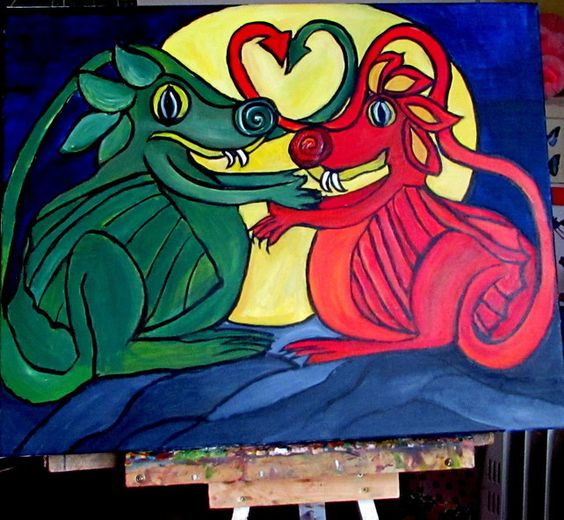 """UNIQUE PAINTING, """"DRAGONS IN LOVE"""" £49.99"""