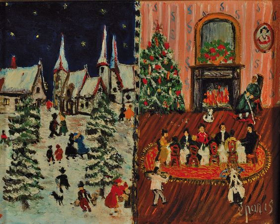 Epasin, French naïve artist to 1960/70, Christmas Eve, oil on canvas, signed, verso onstretcher titled and dated 1967, approximately14x18cm, frame