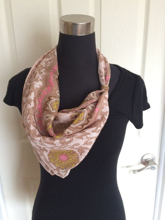 Vintage Paisley Pattern Silk Scarf in Pink White by ChrisTineDecor