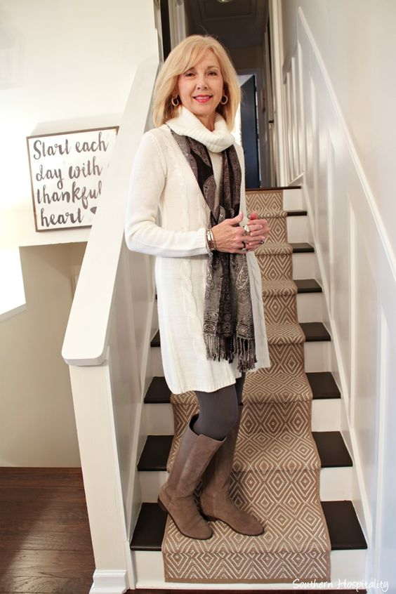 Winter White sweater dress on Fashion over 50.