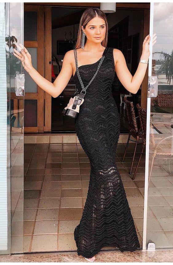 Vestido Tricot Lola Longo Preto | Galeria Tricot - Galeria Tricot