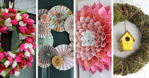 D coration de printemps avec couronnes fabriquer soi m me d co bricolage et d coration - Deco de printemps a faire soi meme ...