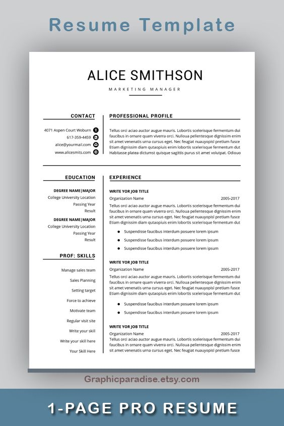 Resume Template Professional Resume Template Instant Etsy In 2020 Resume Template Professional Resume Design Template Resume Template