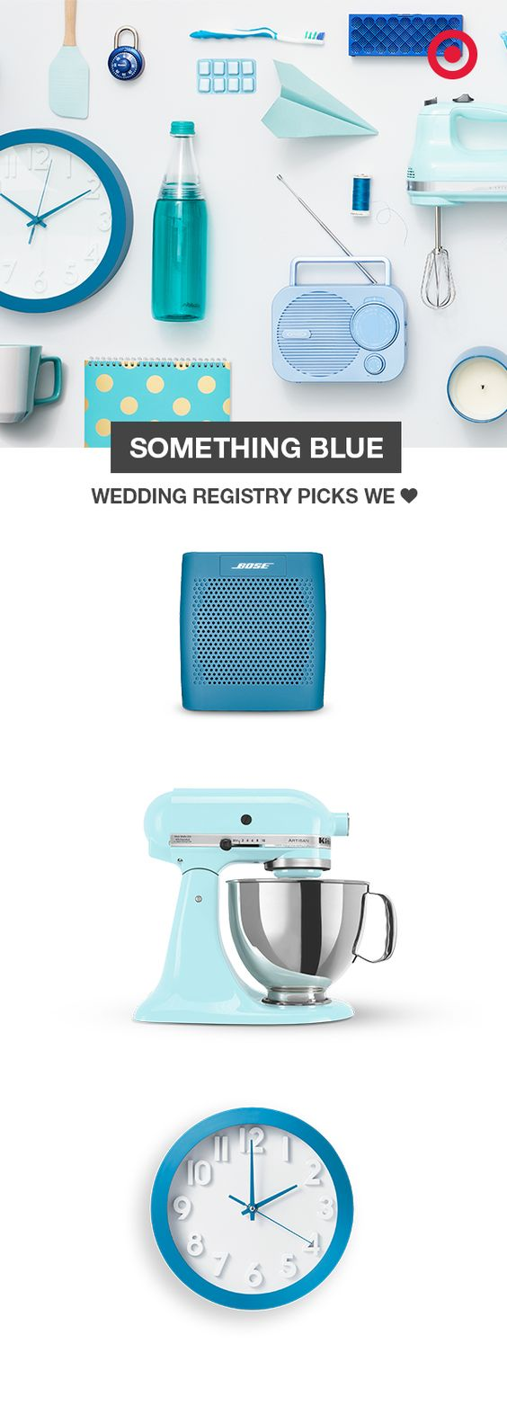 """""""Something blue"""" isn't just for your wedding day. Add your favorite shades of blue to your wedding registry with must-haves like wireless speakers, a KitchenAid stand mixer, wall clocks and radios. Besides, blue is a super easy color to decorate with, and it creates a clean and calm atmosphere."""