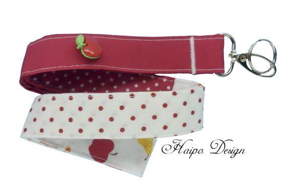 Schlüsselband  Patchwork  ♥ Rot & Weiß ♥ von Haipo Design auf DaWanda.com