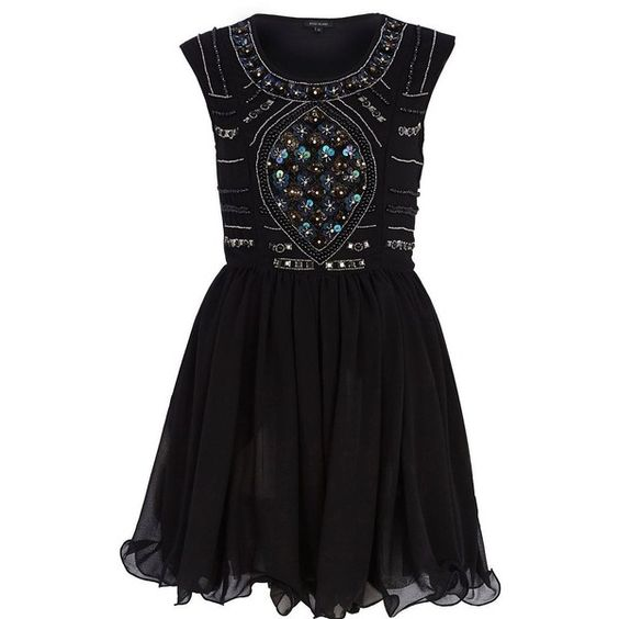 River Island Black sequin embellished prom dress by None, via Polyvore