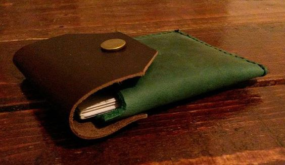 *** Brown&Green Small Wallet ***  This Unique Card Holder / Slim Wallet was…