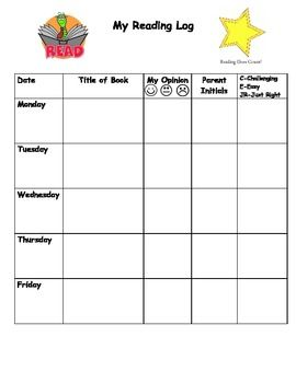 Daily or Weekly Reading Log   First school days   Pinterest ...