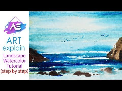 Ocean Water In Watercolors Painting Tutorial How To Paint Sea In