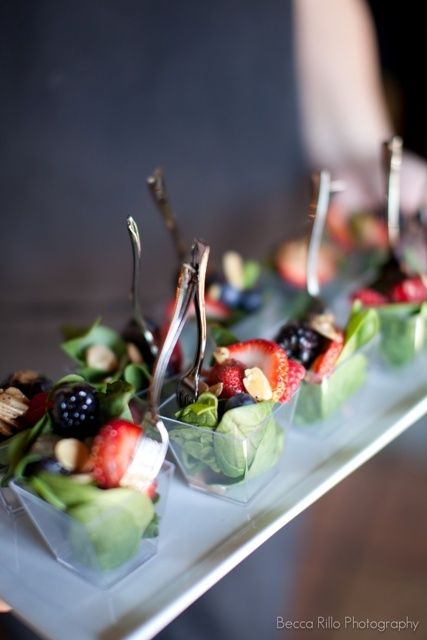Individual salads with berries for a party - cute, healthy, and practical.  For a wedding, brunch, or ladies' event.