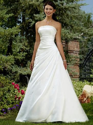 Wedding Dresses - $195.99 - Ball-Gown Strapless Chapel Train Satin Wedding Dress With Ruffle Beading (00205000863)
