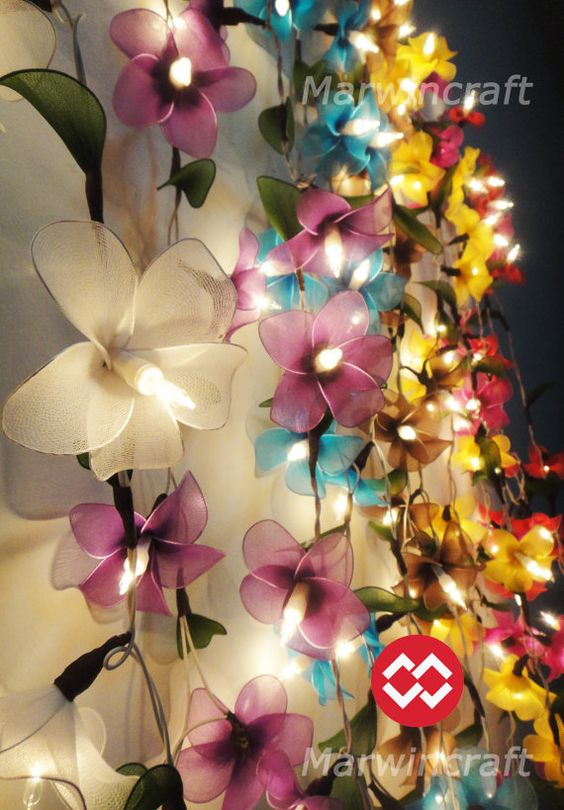 8 Colour Option of 20 Frangipani Flower Fairy String Lights Party Patio Wedding Floor Hanging Gift Home Decor Living Bedroom Holiday on Etsy, $14.47