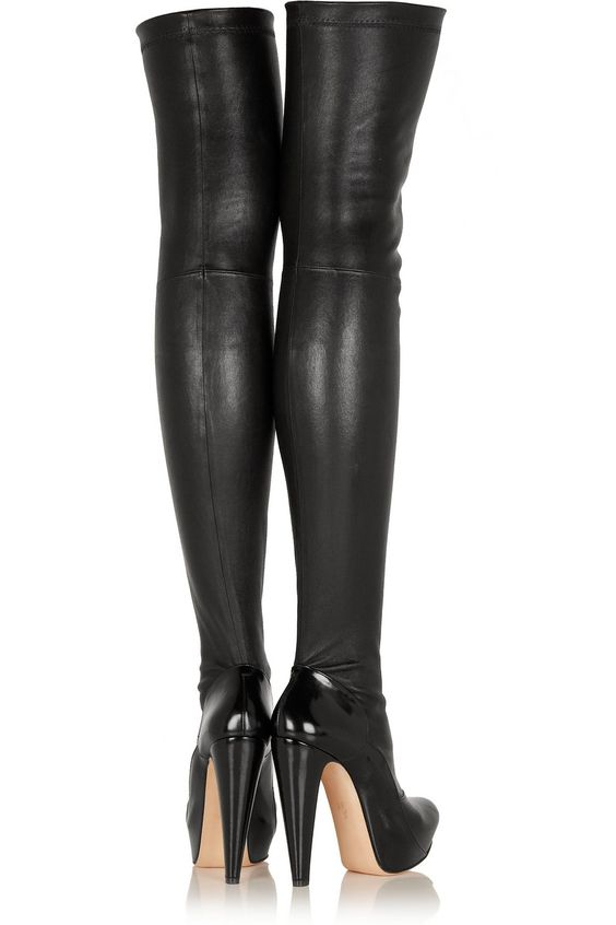 Roland Mouret | Motabor stretch-leather over-the-knee boots | NET ...