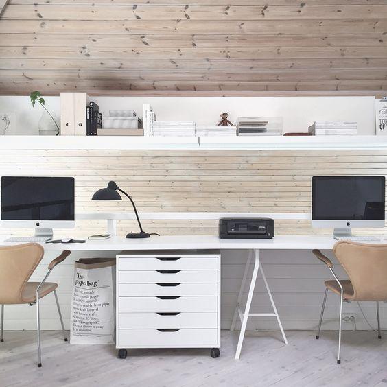 Bureau domicile lampes noires and bureaux on pinterest - Bureau ikea treteaux ...