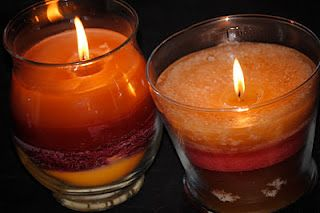 Create layered candles from candle left-overs.