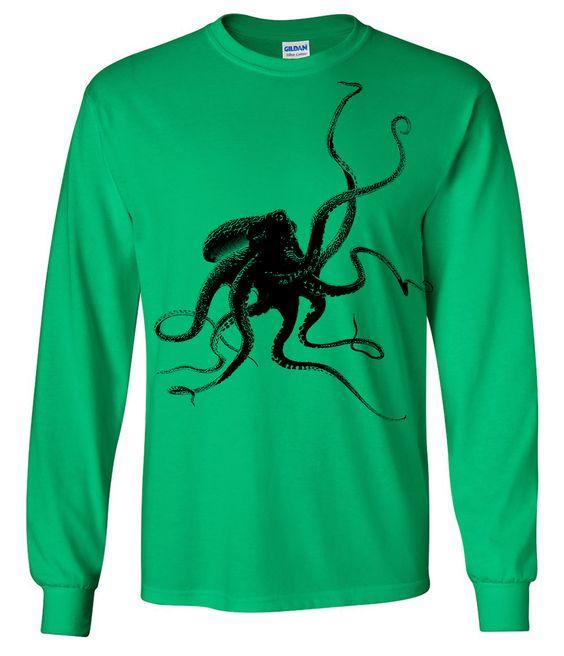 Octopus Silhouette Long Sleeve Shirt Asst Colors