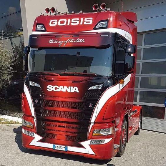 Rode Scania V8 Met Witte Accenten Big Trucks Automobile Marketing Used Trucks