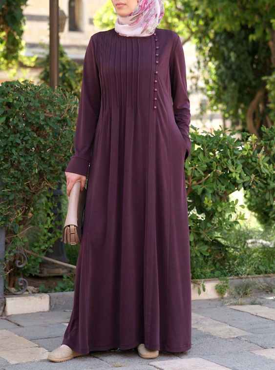Side Pleated Abaya - Abayas - Women