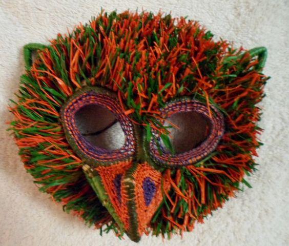 Wounaan Embera Chunga Mask Owl-Panama 16073022L
