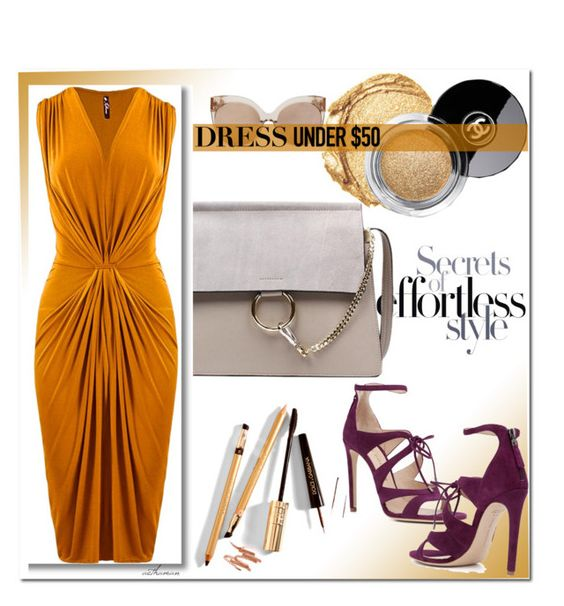 """Dress up and Inexpensive Dress"" by arethaman ❤ liked on Polyvore featuring Chloe Gosselin, Chanel, Dolce&Gabbana, Linda Farrow, mixitup, Dressunder50 and designeraccessories"